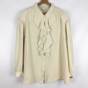 Vintage | 2X ruffle blouse stained Halloween 0702
